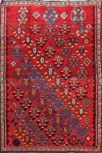 Vintage Geometric Red Lori Persian Area Rug 5x9