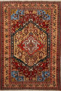 Animal Pictorial Wool & Silk Turkoman Persian Area Rug 4x7