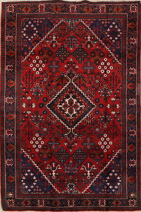 Geometric Red Joshaghan Persian Area Rug 4x7