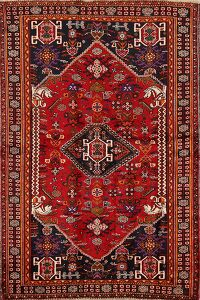 Vintage Tribal Geometric Shiraz Persian Area Rug 4x7