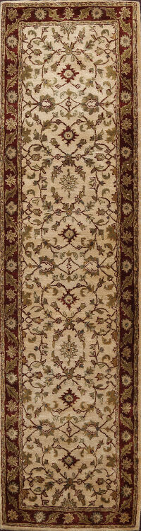 Floral Ivory Agra Indian Oriental Runner Rug 3x9