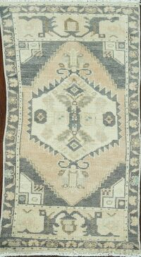 Vintage Geometric Anatolian Turkish Area Rug 2x3