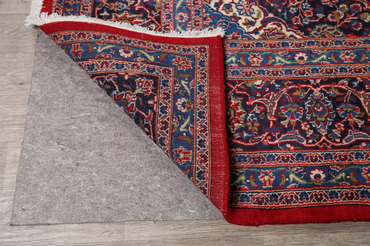 Vintage Floral Red Mashad Persian Area Rug 10x12 image 7