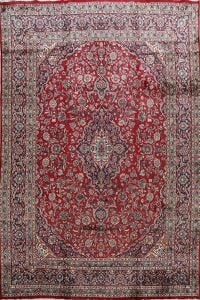 Vintage Floral Red Mashad Persian Area Rug 9x12