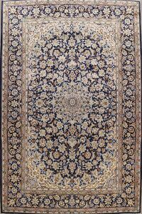 Vintage Floral Navy Blue Najafabad Persian Area Rug 10x13