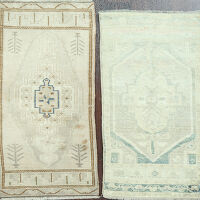 Set of 2 Vintage Geometric Anatolian Turkish Rugs 1x4