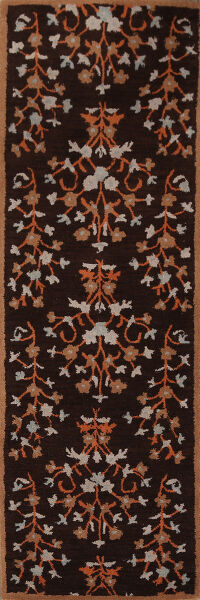 Transitional Floral Dark Brown Runner Rug 3x8