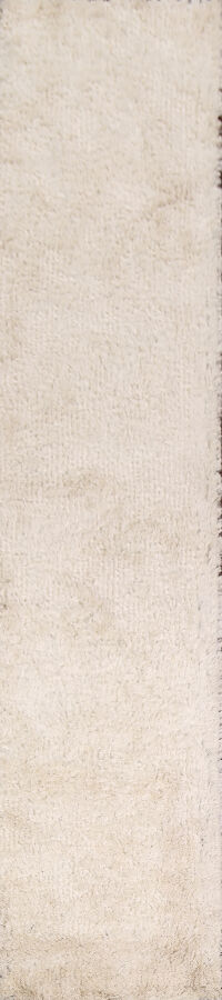 Contemporary White Shaggy Runner Rug 3x13