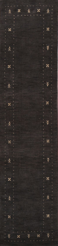 Abstract Charcoal Gabbeh Oriental Runner Rug 3x10