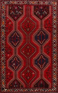 Vintage Geometric Red Shiraz Persian Area Rug 6x10