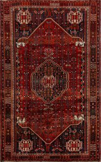 Tribal Animal Pictorial Shiraz Persian Area Rug 5x9