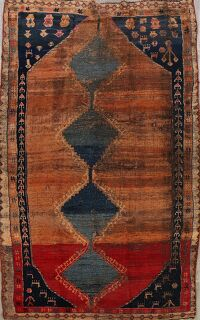 Pre-1900 Antique Gabbeh Qashqai Persian Area Rug 5x9