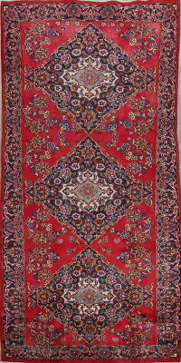 Floral Red Kashan Persian Area Rug 5x10