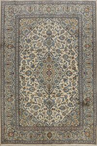 Floral Ivory Kashan Persian Area Rug 7x10