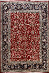 All-Over Floral Red Kerman Persian Area Rug 7x10