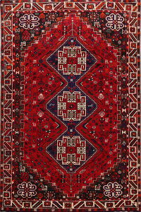 Vintage Tribal Geometric Shiraz Persian Area Rug 6x10