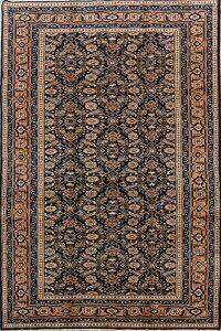 Navy Blue Geometric Ardebil Persian Area Rug 5x9