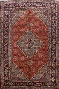 Geometric Red Ardebil Persian Area Rug 7x10