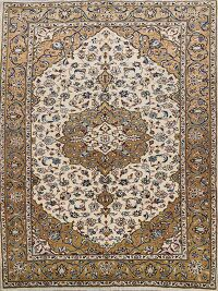 Vintage Floral Ivory Najafabad Persian Area Rug 7x9