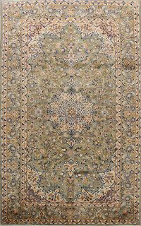 Vintage Green Floral Najafabad Persian Area Rug 7x12