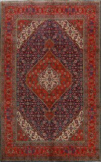Geometric Navy Blue Tabriz Persian Area Rug 7x9