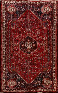 Vintage Tribal Geometric Shiraz Persian Area Rug 7x10