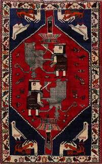 Animal Pictorial Red Shiraz Persian Area Rug 6x8