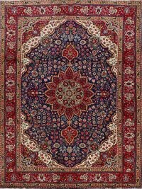Navy Blue Floral Tabriz Persian Area Rug 7x10