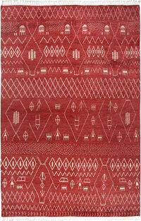 Tribal Moroccan Oriental Red Area Rug 9x13