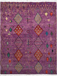 Purple Geometric Tribal Moroccan Area Rug 9x13