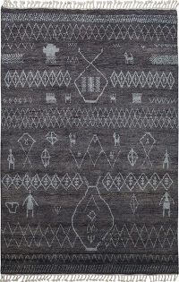 Charcoal Tribal Moroccan Oriental Area Rug 6x9