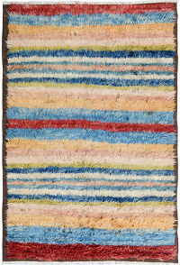 Striped Plush Shaggy Moroccan Area Rug 7x9
