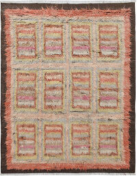 Checkered Plush Shaggy Moroccan Area Rug 7x9