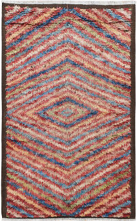 Geometric Thick Plush Shaggy Moroccan Area Rug 5x8
