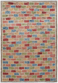 Checkered Plush Shaggy Moroccan Area Rug 8x11