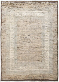 Thick Plush Bordered Shaggy Moroccan Area Rug 8x11