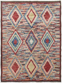 Thick Plush Geometric Shaggy Moroccan Area Rug 8x11
