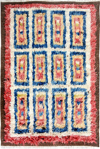 Geometric Plush Shaggy Moroccan Area Rug 4x6