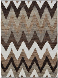 Thick Plush Chevron Shaggy Moroccan Area Rug 6x9