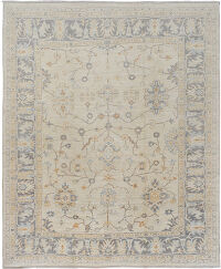 Muted Floral Oushak Turkish Ivory Area Rug 8x9
