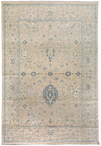 Muted Floral Oushak Turkish Area Rug 10x14