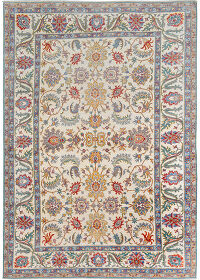 Floral Oushak Turkish Ivory Area Rug 8x12