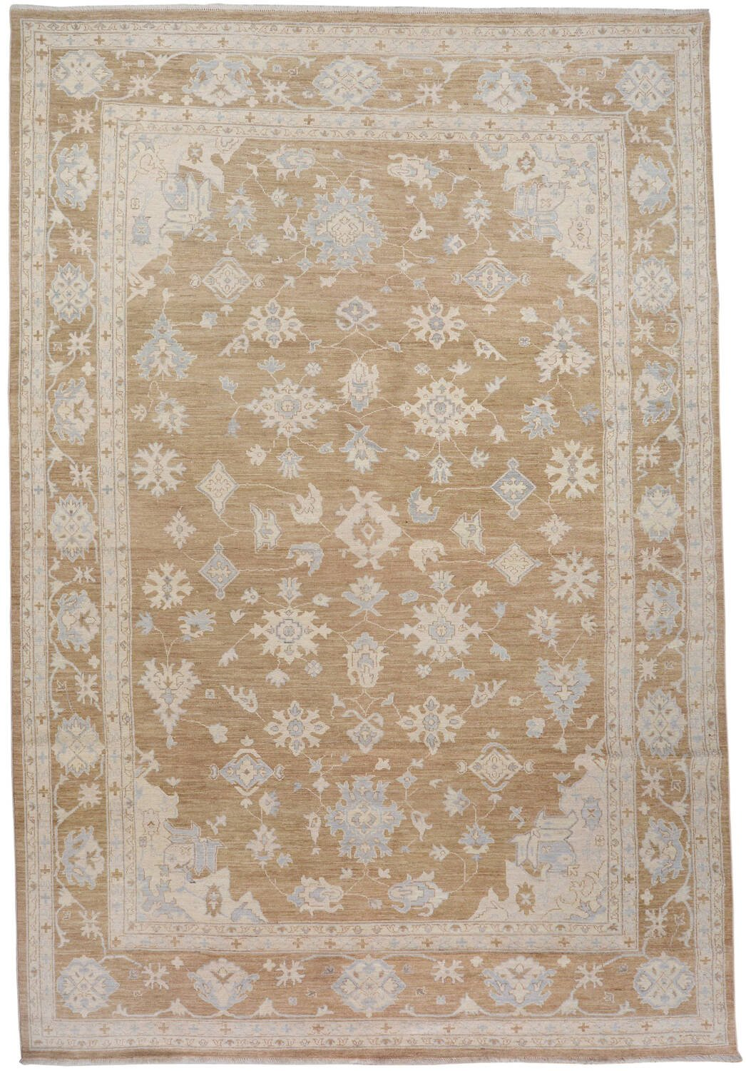 Muted Floral Oushak Turkish Area Rug 9x13 image 1