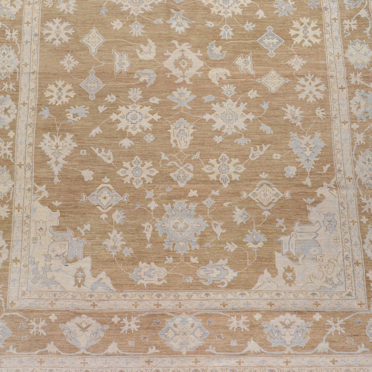 Muted Floral Oushak Turkish Area Rug 9x13 image 3
