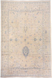 Muted Floral Oushak Turkish Area Rug 9x14