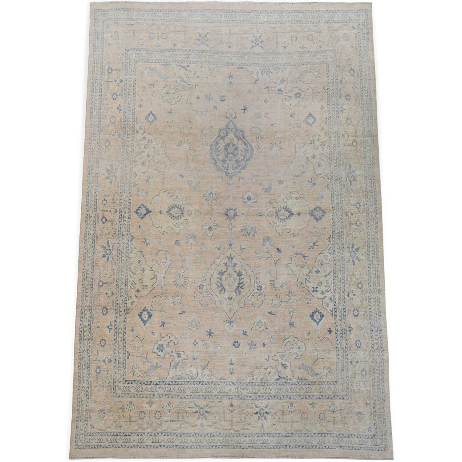 Muted Floral Oushak Turkish Area Rug 12x15 image 2
