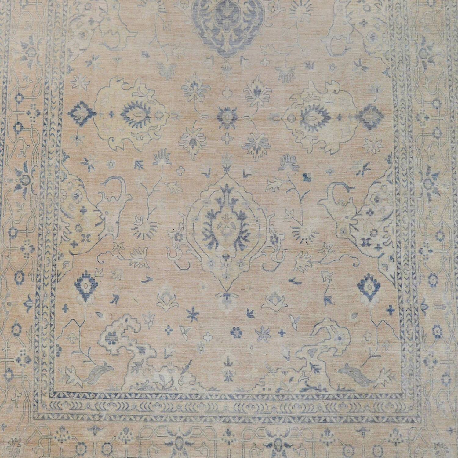 Muted Floral Oushak Turkish Area Rug 12x15 image 3