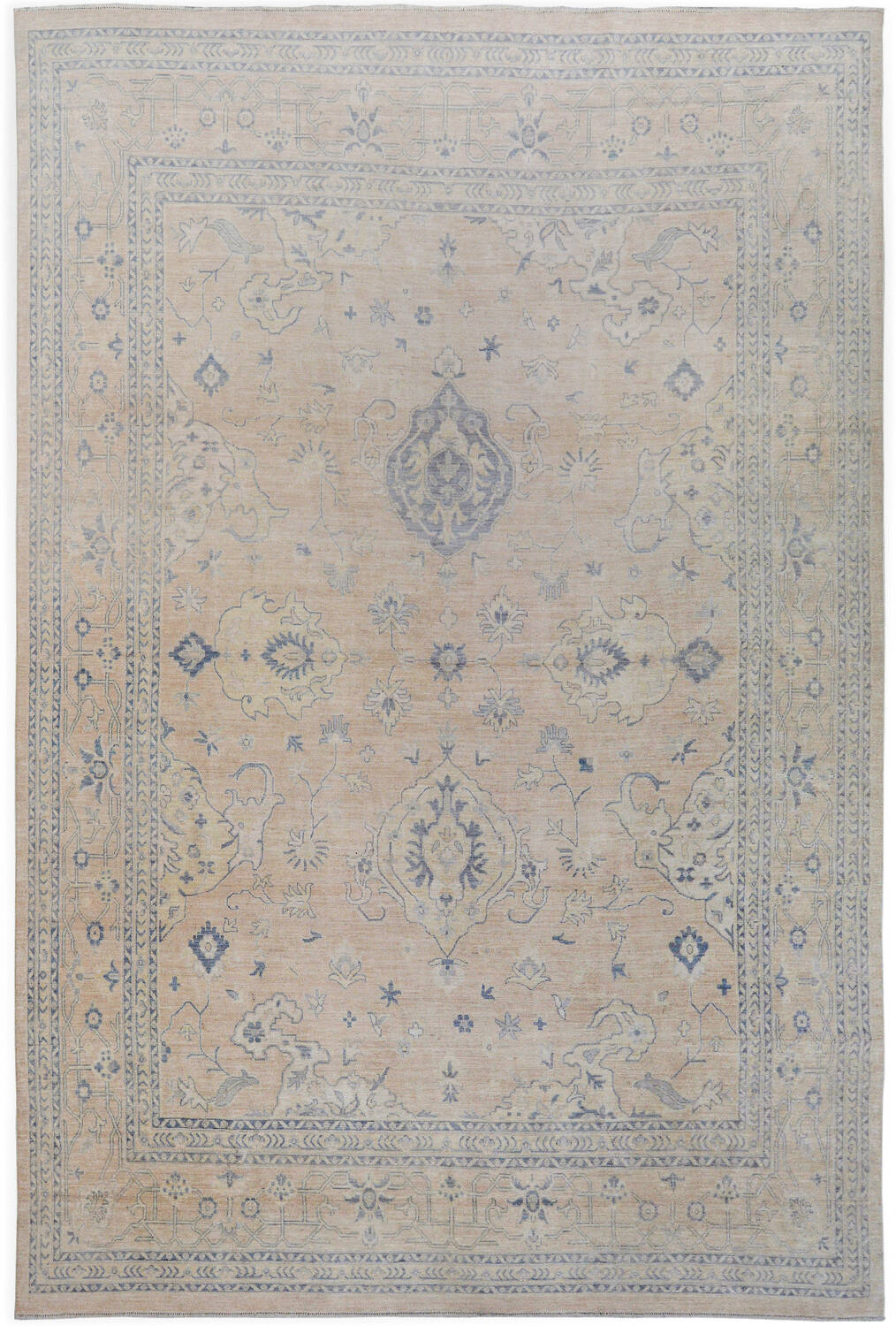 Muted Floral Oushak Turkish Area Rug 12x15 image 1