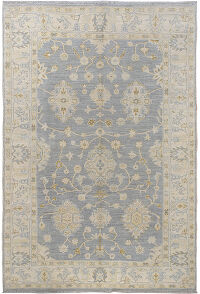 Muted Floral Oushak Turkish Area Rug 6x9