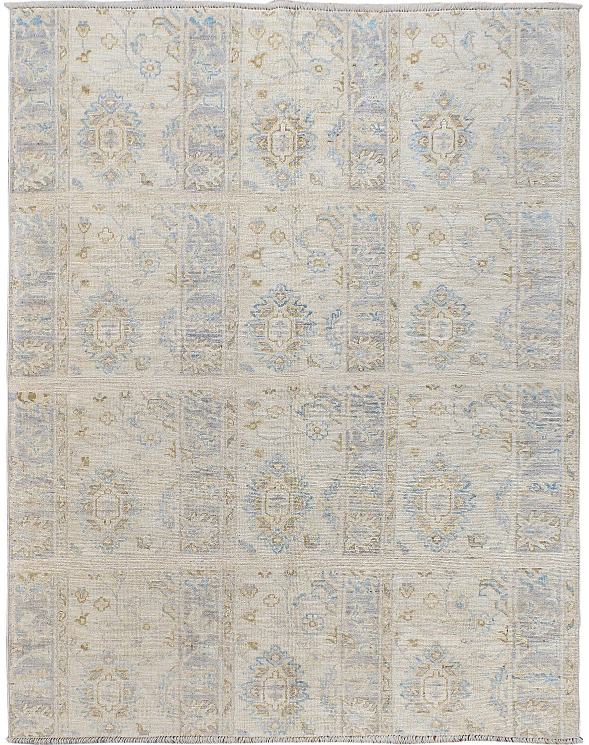 Muted Floral Oushak Turkish Area Rug 5x6 image 1